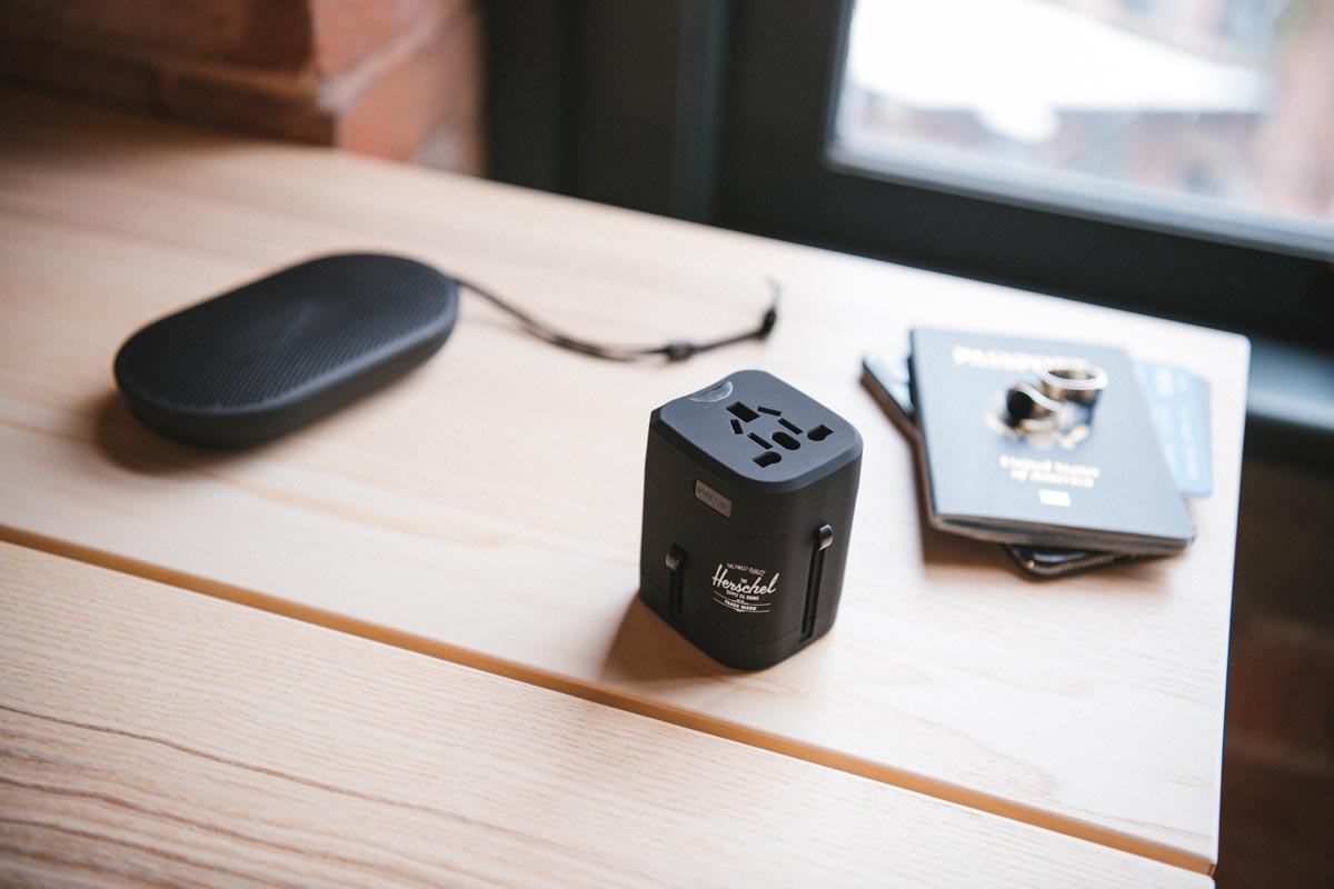 Simple to use and easy to pack, the Standard Issue Travel Adapter allows you to plug in and power up